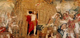 Vatican, Resurrection Of Christ. Tapestry with Resurrection Of Christ in Vatican City, Rome Italy Royalty Free Stock Photography
