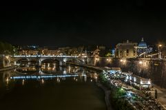 Vatican and River Tiber by night Stock Photos