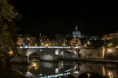 Vatican and River Tiber by night Stock Photography