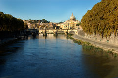 Vatican, Rome. A panoramic view of the Vatican and Sant Angelo Bridge looking down the Tiber River Stock Photography
