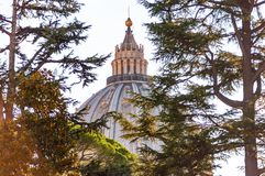 The dome of the Papal Basilica of St. Peter in the Vatican or simply St. Peter`s Basilica through the backyard garden trees. Vatican, Rome, Italy - November 16 stock image