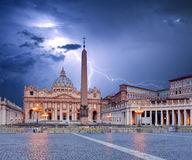 Vatican, Rome with lightning stock image