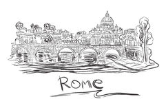 Vatican in Rome, sketch, vector illustration Stock Images