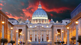 Vatican, Rome, St. Peter Basilica, Time lapse. At sunset stock footage