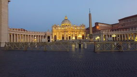 Vatican, Rome, St. Peter`s Basilica. Vatican city and Saint Pierre basilic of Roma by night, Italy stock footage