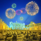 Vatican. Saint Peter's Square at night with fireworks, Rome Royalty Free Stock Photography