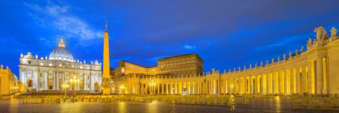 Vatican. Saint Peter's Square at night, Rome Stock Photo