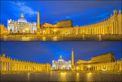 Vatican. Saint Peter's Square at night, Rome Stock Images