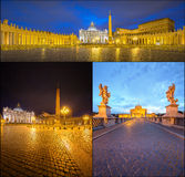Vatican. Saint Peter's Square at night, Rome Royalty Free Stock Images
