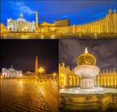 Vatican. Saint Peter's Square at night, Rome Stock Photography