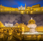Vatican. Saint Peter's Square at night, Rome Royalty Free Stock Photos