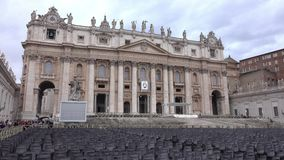 Vatican Square at Saint Peters Basilica in Rome - important destination for catholic pilgrims. Videoclip stock video