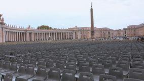 Vatican Square at Saint Peters Basilica in Rome - important destination for catholic pilgrims. Videoclip stock video footage