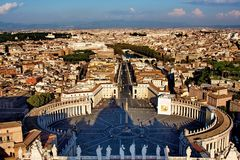 Vatican. St Peter's square in Vatican, view on Rome city Stock Photos