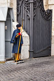 Vatican swiss guard. VATICAN - APRIL 18: Swiss Guard at the papal residence on April 18, 2012, at Vatican. Swiss guards are the official army of the papal state stock photography