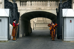 Vatican swiss guard by the St. Peter's Basilica Stock Image
