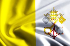 Vatican flag illustration. Vatican waving and closeup flag illustration. Perfect for background or texture purposes stock illustration