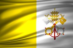 Vatican flag illustration. Vatican waving and closeup flag illustration. Perfect for background or texture purposes royalty free illustration