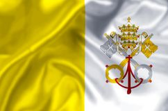 Vatican flag illustration. Vatican waving and closeup flag illustration. Perfect for background or texture purposes vector illustration