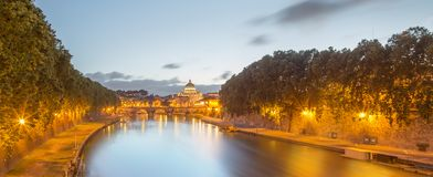 Vatican view from the bridge after sunset, Rome Royalty Free Stock Images