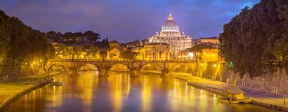 Vatican view from the bridge after sunset, Rome Stock Photo