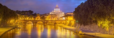 Vatican view from the bridge after sunset, Rome Stock Photography