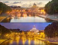 Vatican view from the bridge after sunset, Rome Royalty Free Stock Photography