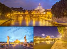 Vatican view from the bridge after sunset, Rome Stock Photos