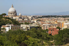 Vatican. A view of the Vatican dome from a hill in Rome Royalty Free Stock Images
