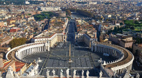 Vaticanenfågelperspektiv, Sts Peter fyrkant Arkivfoto