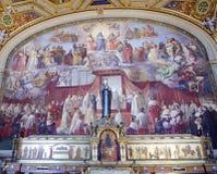 Vaticanenmuseumfreskomålning - obefläckad befruktning Arkivbilder