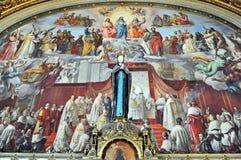 Vaticanenmuseumfreskomålning - obefläckad befruktning Arkivfoton