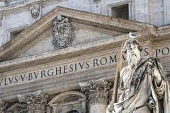 Vaticanet City, Rome, Italien - St Paul Statue arkivfoto