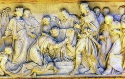 Vaticano Roma Italia de la basílica del ` s de reyes Reading Bible Sculpture San Pedro Imagen de archivo libre de regalías
