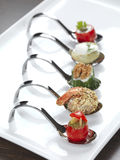 Vatiery of appetizers. Five different appetizers served in a modern style royalty free stock photography