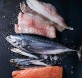Vatiery van ruwe verse vissen Stock Foto