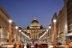 Vatikan nachts Dämmerung/ stockfoto