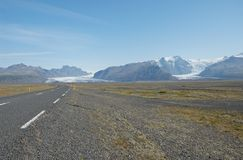 Vatnajokul glacier. From road number one, south Iceland royalty free stock photography