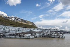 Vatnajokull glacier Iceland. Melting into its end lake Stock Photo