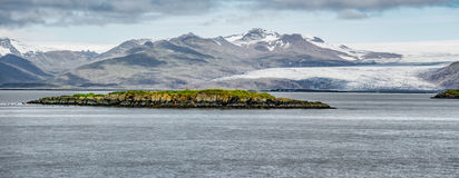Vatnajokull mountains and glaciers across the fjord from Hofn, I Stock Photos