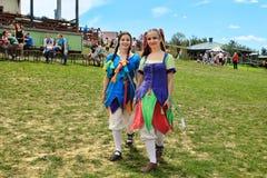Vatra, Μολδαβία 28 Ιουνίου 2015 το φεστιβάλ σημαιοστολίζει το μεσαιωνικό ουρανό Ιστορικές λέσχες Στοκ εικόνες με δικαίωμα ελεύθερης χρήσης
