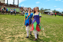 Vatra Moldavien Juni 28, 2015 festivalen flags den medeltida skyen Historiska klubbor Royaltyfria Bilder