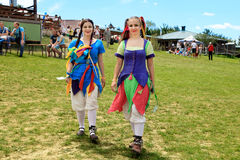 Vatra Moldavien Juni 28, 2015 festivalen flags den medeltida skyen Historiska klubbor Arkivfoto