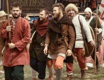 Vatra, Moldova. June 28, 2015. Medieval Festival. Historic clubs Royalty Free Stock Photography