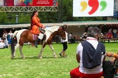 Vatra, Moldova. June 28, 2015. Medieval Festival. Historic clubs Royalty Free Stock Photos