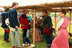 Vatra, Moldova. June 28, 2015. Medieval Festival. Historic clubs Royalty Free Stock Photo