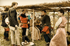 Vatra, Moldova. June 28, 2015. Medieval Festival. Historic clubs Stock Photo