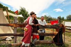 Vatra, Moldova. June 28, 2015. Medieval Festival. Historic clubs Stock Photo