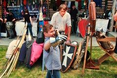 Vatra, Moldova. June 28, 2015. Medieval Festival. Spectators are Stock Photography