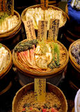 Traditional Japanese pickled vegetables. Large vats of traditional Japanese pickled vegetables on sale at the Nishiki Market, Kyoto, Japan Stock Photography